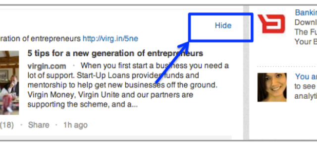 Ben jij de status updates op LinkedIn van een connectie echt beu, hoe kom je daar met 1 click van af?